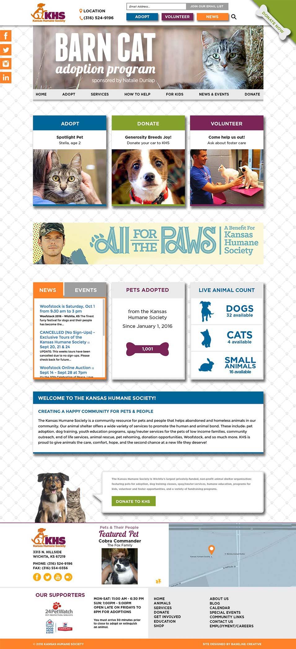 Kansas Humane Society website design
