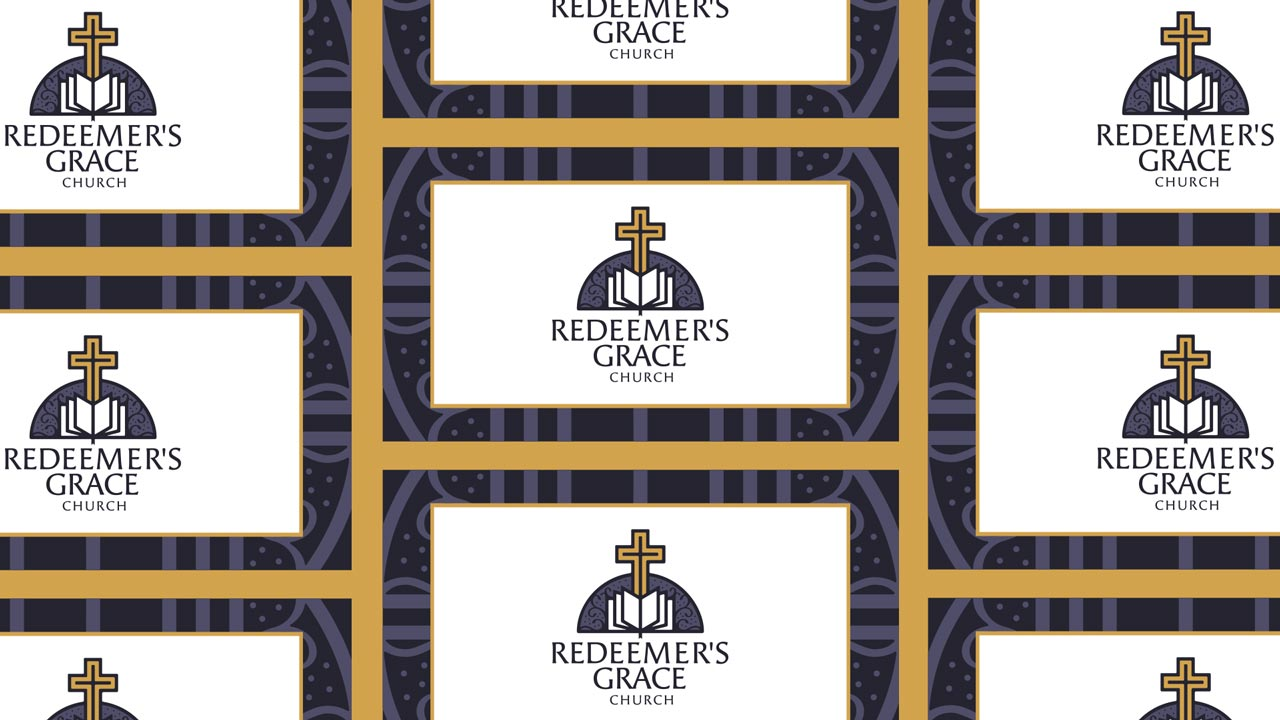 Redeemers grace church logo design and church website development final logo applied to business cards colourmoves