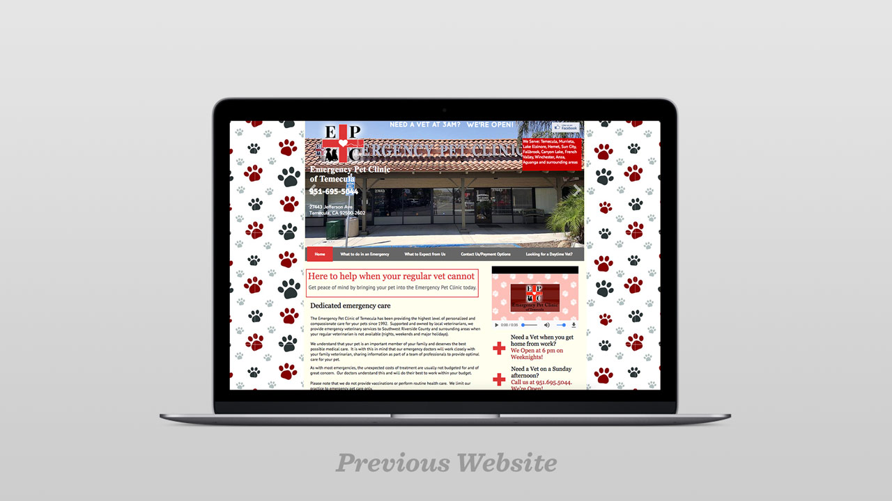 Emergency Pet Clinic Temecula California Web Design