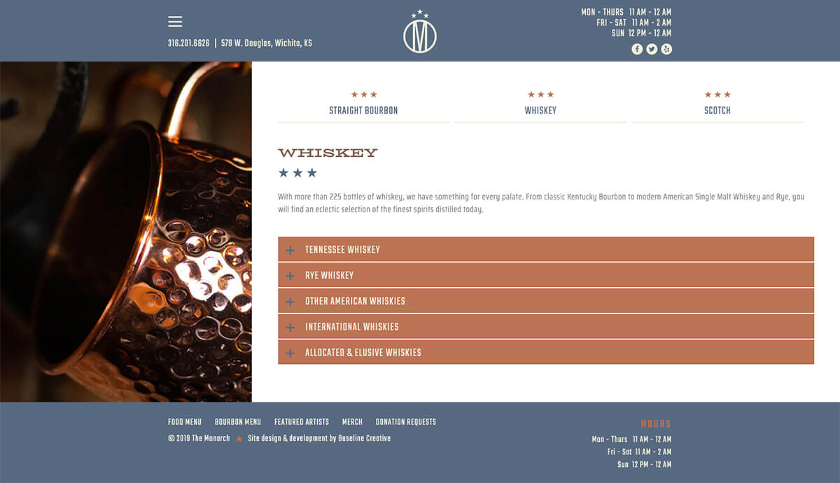 The Monarch Whiskey Page Restaurant Web Design