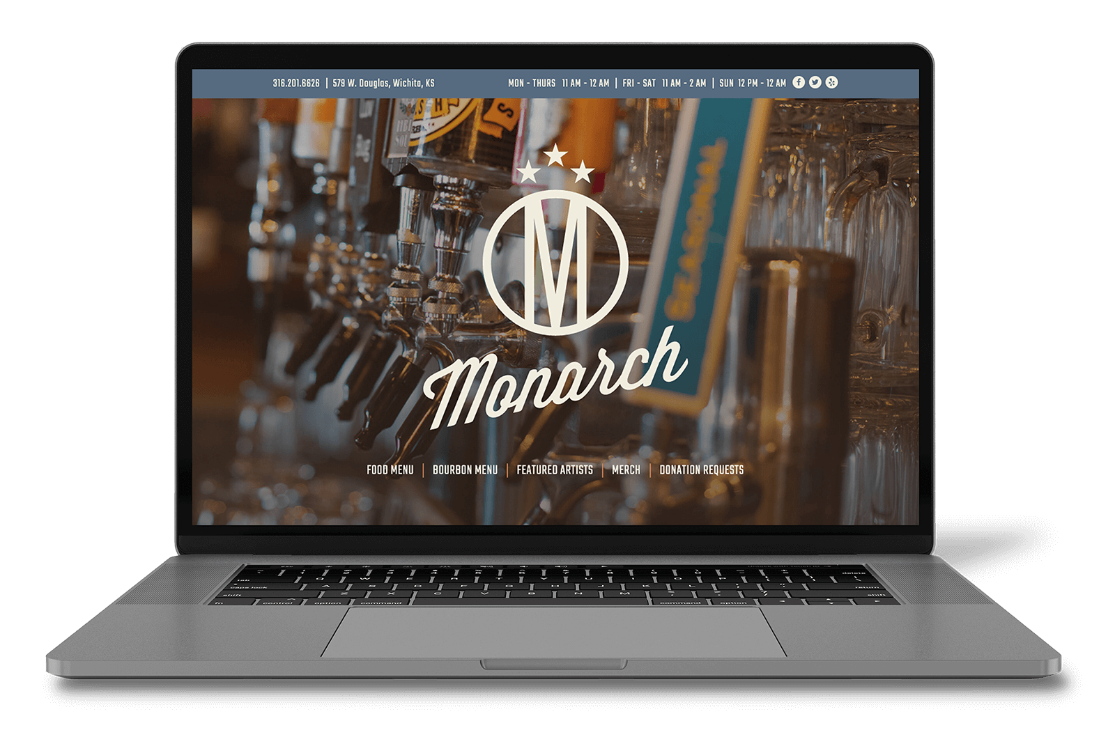 The Monarch Website on MacBook Restaurant Web Design