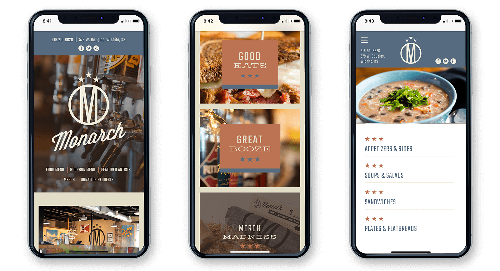 The Monarch Restaurant Web Design Site on iPhone X