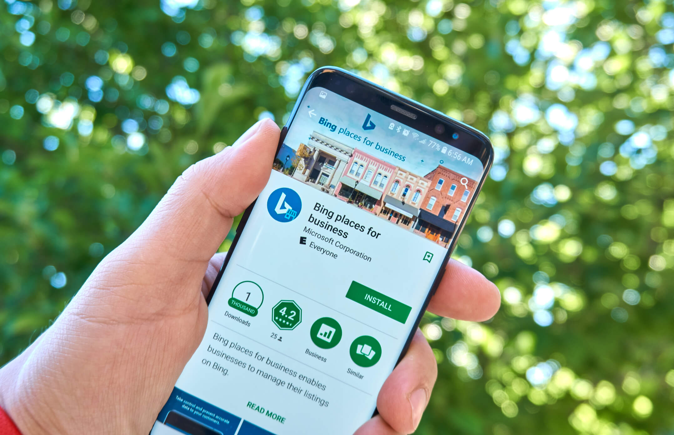Bing Places dashboard displays on a smart phone