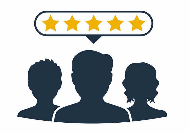 Illustration of an outline of three people with a speech bubble overhead with a star rating